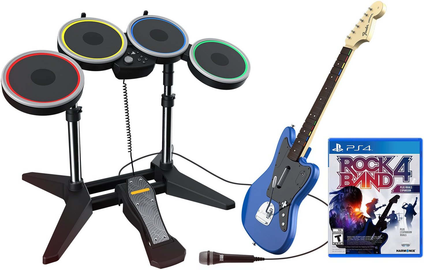 Гитара + Барабаны Rock Band Rivals Band Kit Bundle (PS4)